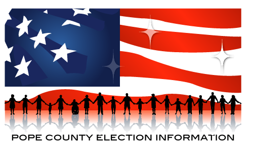 American flag with silhouettes of people holding hands, with words Pope County Election Information below